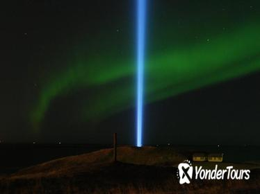 Imagine Peace Tower and Northern Lights on Videy island from Reykjavik